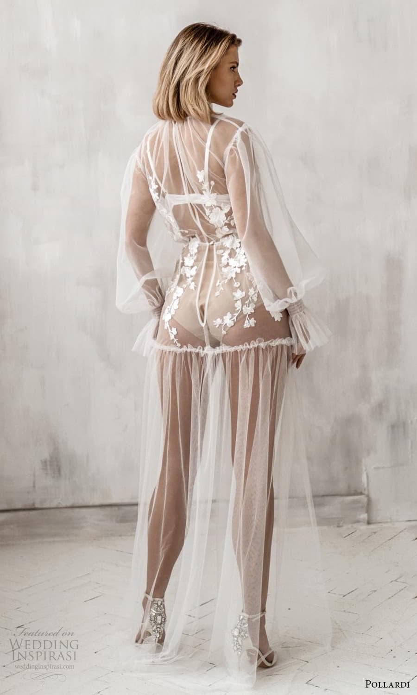 pollardi 2021 boudoir bridal sheer long bishop sleeves high neckline sheer over dress (7) bv