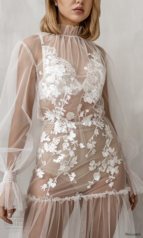 pollardi 2021 boudoir bridal sheer long bishop sleeves high neckline sheer over dress (7) zv