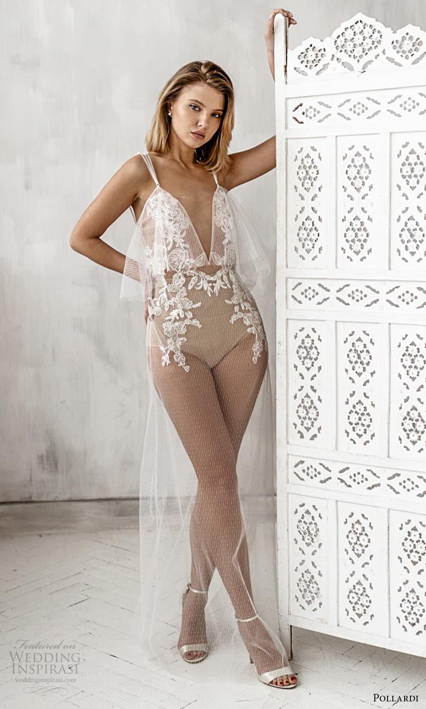pollardi 2021 boudoir bridal sleeveless straps plunging v neckline body suit over dress (17) mv