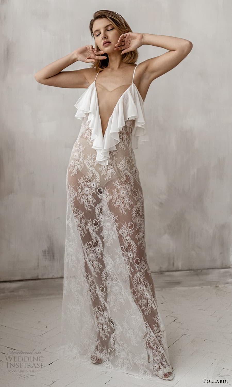 pollardi 2021 boudoir bridal sleeveless straps plunging v neckline sheer over dress (16) mv