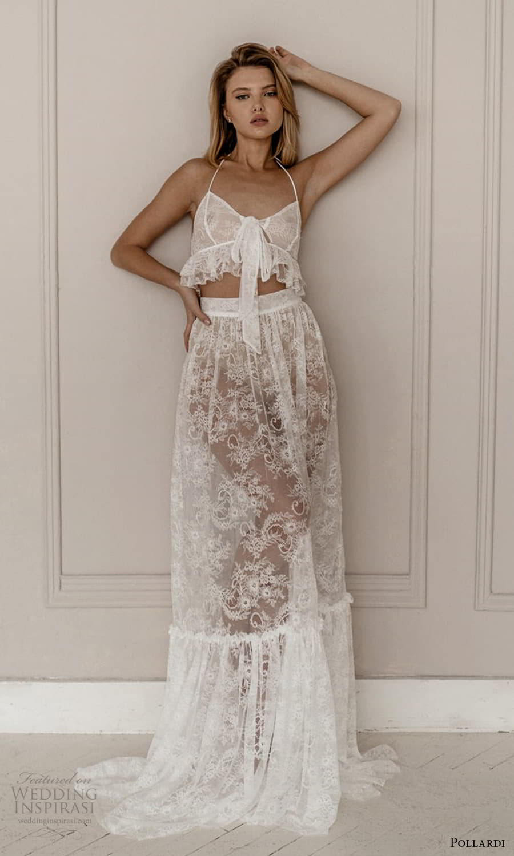 pollardi 2021 boudoir bridal two piece sleeveless crop top lace skirt sheer dress 10) mv
