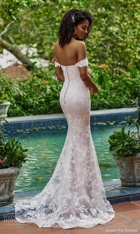simply val stefani spring 2022 bridal off shoulder straps sweetheart neckline embellished lace sheath wedding dress chapel train (3) bv