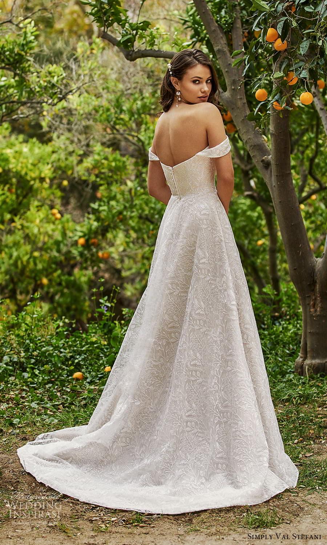 simply val stefani spring 2022 bridal off shoulder straps sweetheart neckline fully embellished lace a line ball gown wedding dress chapel train (8) bv