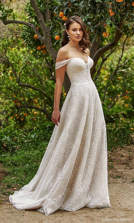 simply val stefani spring 2022 bridal off shoulder straps sweetheart neckline fully embellished lace a line ball gown wedding dress chapel train (8) mv