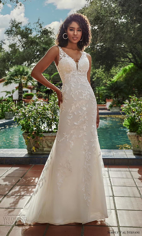 simply val stefani spring 2022 bridal sleeveless sheer straps v neckline embellished fit flare sheath wedding dress (1) mv