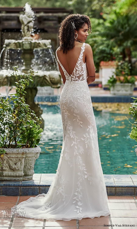 simply val stefani spring 2022 bridal sleeveless sheer straps v neckline embellished fit flare sheath wedding dress v back sweep train (1) bv