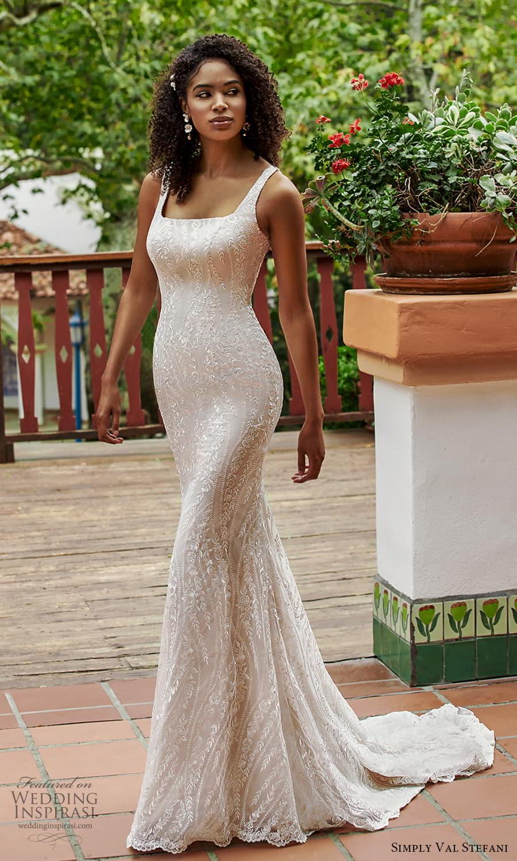 simply val stefani spring 2022 bridal sleeveless straps square neckline fully embellished sheath wedding dress chapel train (9) mv