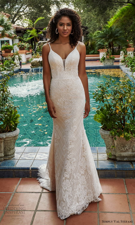simply val stefani spring 2022 bridal sleeveless straps sweetheart neckline fully embellished lace sheath wedding dress chapel train (2) mv