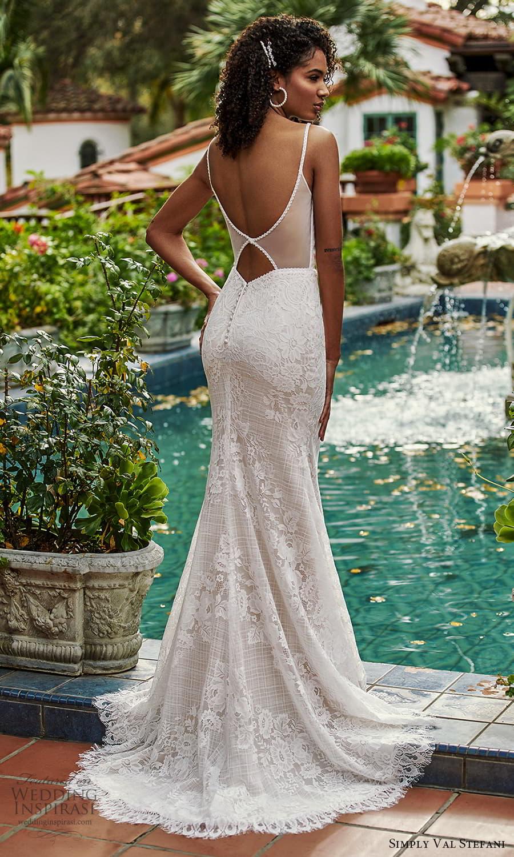 simply val stefani spring 2022 bridal sleeveless straps sweetheart neckline fully embellished lace sheath wedding dress chapel train cutout back (2) bv