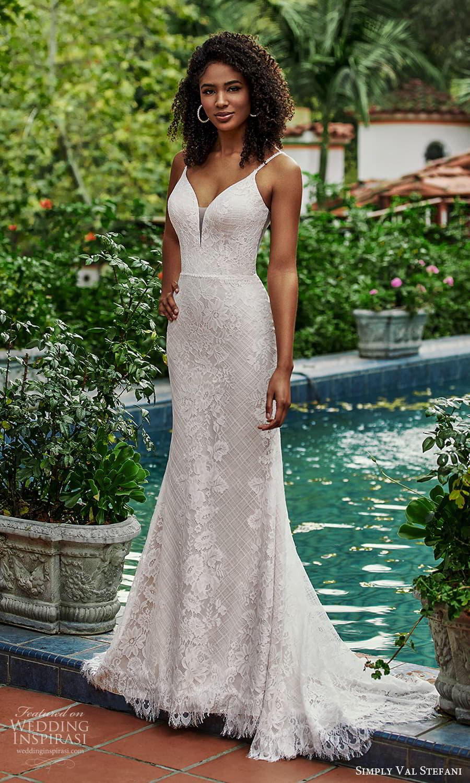 simply val stefani spring 2022 bridal sleeveless straps sweetheart neckline fully embellished lace sheath wedding dress chapel train cutout back (2) fv