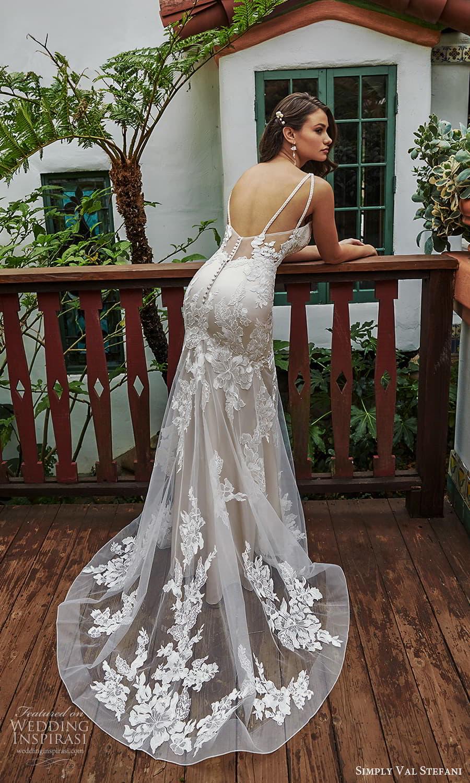 simply val stefani spring 2022 bridal sleeveless straps sweetheart v neckline embellished lace modified a line wedding dress chapel train (6) bv