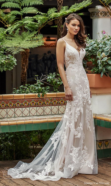 simply val stefani spring 2022 bridal sleeveless straps sweetheart v neckline embellished lace modified a line wedding dress chapel train (6) mv
