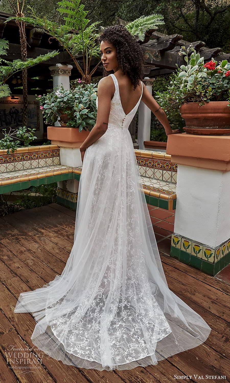 simply val stefani spring 2022 bridal sleeveless straps v neckline fully embellished lace a liine ball gown wedding dress chapel train v back (7) bv
