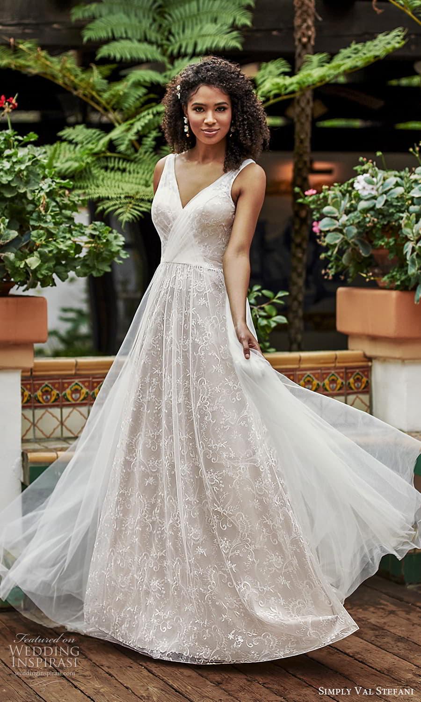 simply val stefani spring 2022 bridal sleeveless straps v neckline fully embellished lace a liine ball gown wedding dress chapel train v back (7) mv