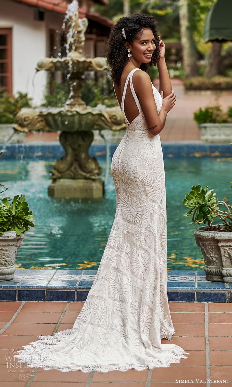 simply val stefani spring 2022 bridal sleeveless straps v neckline fully embellished lace sheath wedding dress (5) bv