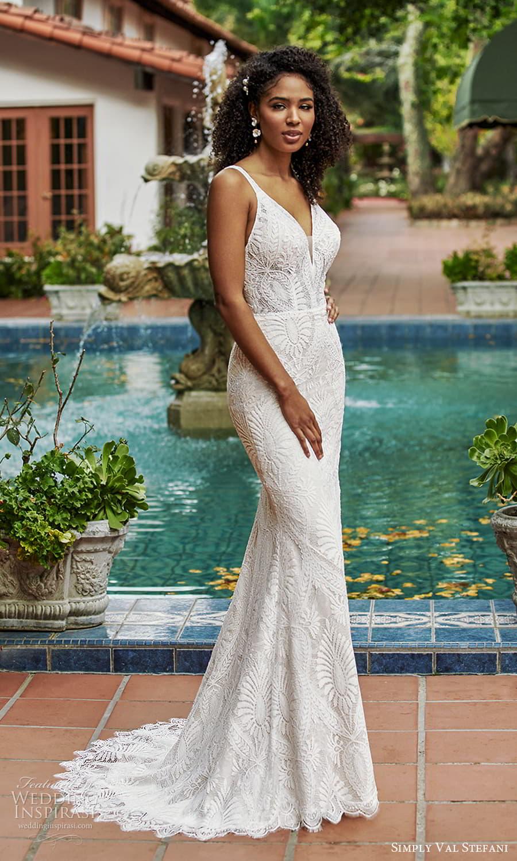 simply val stefani spring 2022 bridal sleeveless straps v neckline fully embellished lace sheath wedding dress (5) mv