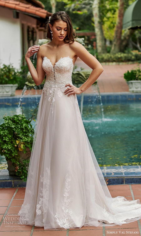 simply val stefani spring 2022 bridal strapless sweetheart neckline embellished lace bodice a line wedding dress chapel train (4) mv