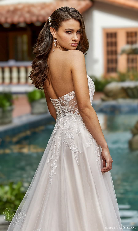 simply val stefani spring 2022 bridal strapless sweetheart neckline embellished lace bodice a line wedding dress chapel train (4) zbv
