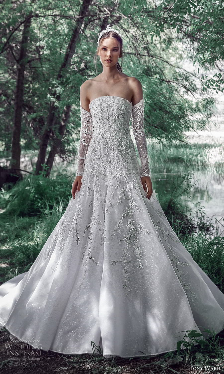 tony ward spring 2022 bridal detached long sleeves strapless curved neckline fully embellished trumpet modified a line wedding dress chapel train (13) mv