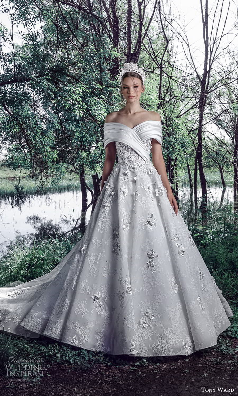 tony ward spring 2022 bridal elbow length off shoulder sleeve sweetheart neckline embellished a line ball gown wedding dress chapel train (13) mv