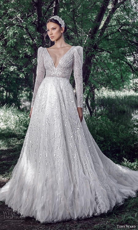 tony ward spring 2022 bridal long puff sleeve v neckline fully embellished a line ball gown wedding dress chapel train (8) mv