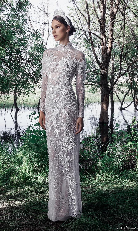 tony ward spring 2022 bridal long sleeve high neckline fully embellished lace sheath wedding dress (3) mv