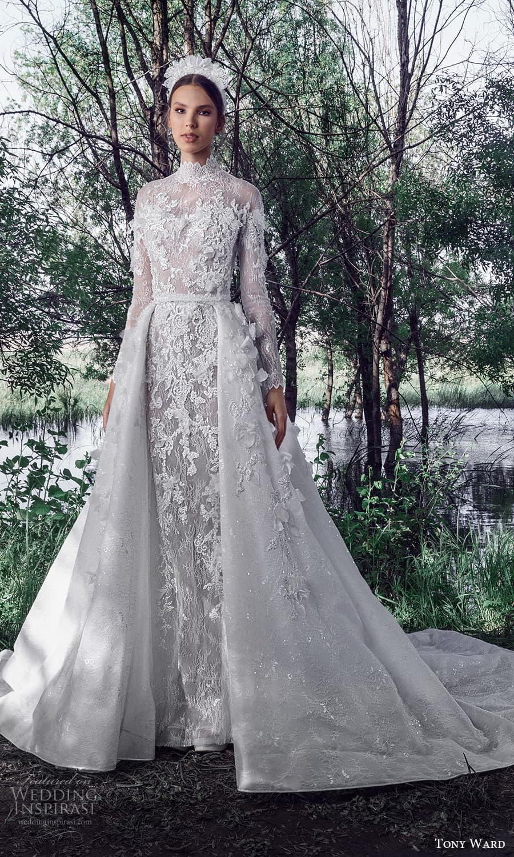 tony ward spring 2022 bridal long sleeve high neckline fully embellished lace sheath wedding dress a line overskirt chapel train (3) mv