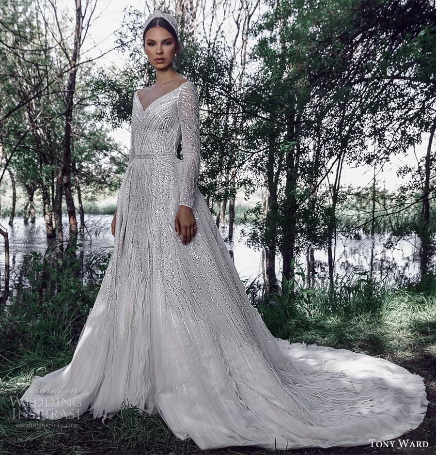 tony ward spring 2022 bridal long sleeve v neckline fully embellished a line ball gown wedding dress chapel train (9) mv