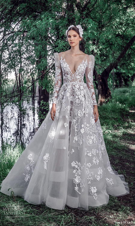 tony ward spring 2022 bridal sheer long puff sleeve v neckline fully embellished a line ball gown wedding dress chapel train (1) mv