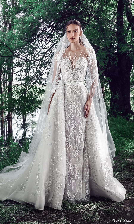 tony ward spring 2022 bridal sheer short sleeves illusion bateau neckline sweetheart neckline fully embellished sheath wedding dress chapel train a line overskirt (2) mv