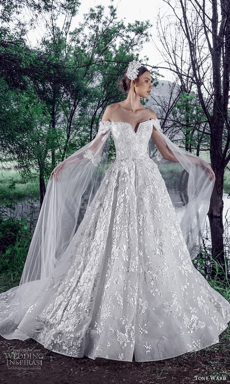 tony ward spring 2022 bridal sheer split long sleeves v neckline fully embellished a line ball gown wedding dress (12) mv