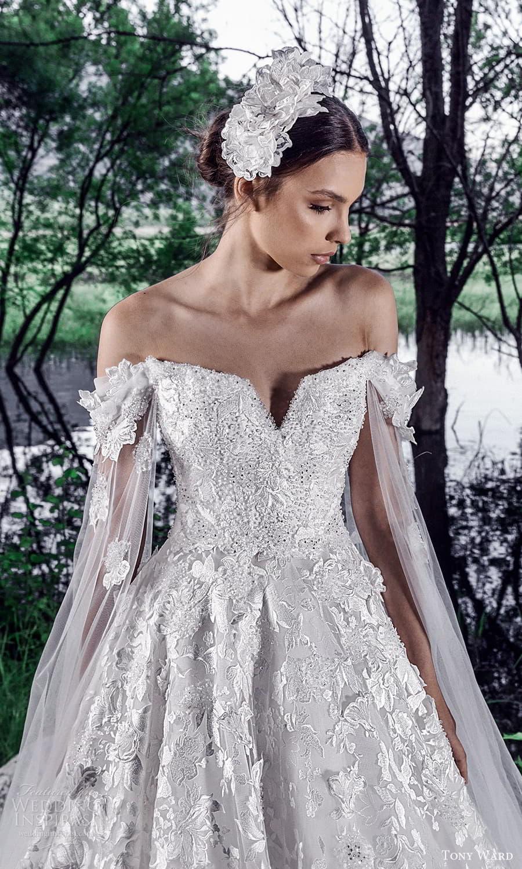 tony ward spring 2022 bridal sheer split long sleeves v neckline fully embellished a line ball gown wedding dress (12) zv