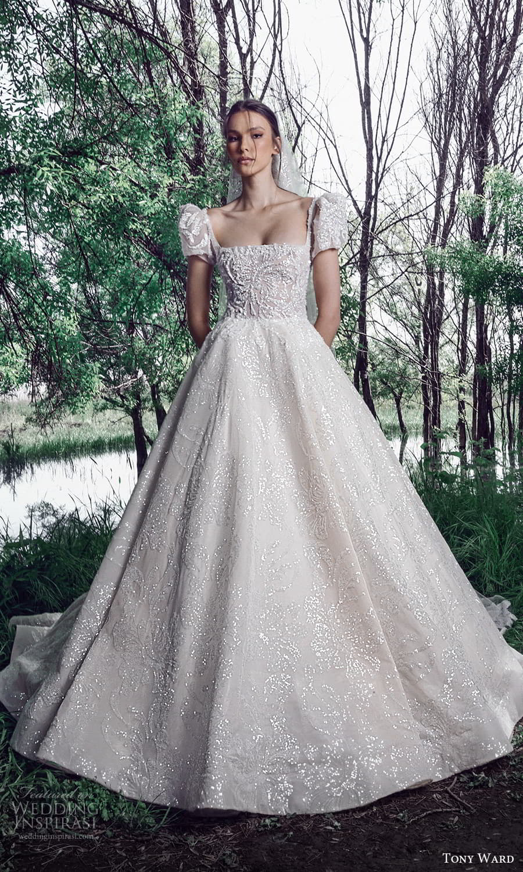 tony ward spring 2022 bridal short puff sleeves square neckline fully embellished a line ball gown wedding dress chapel train (4) mv