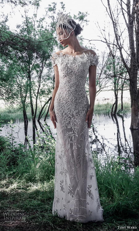 tony ward spring 2022 bridal short sleeves bateau neckline fully embellished sheath wedding dress (12) mv