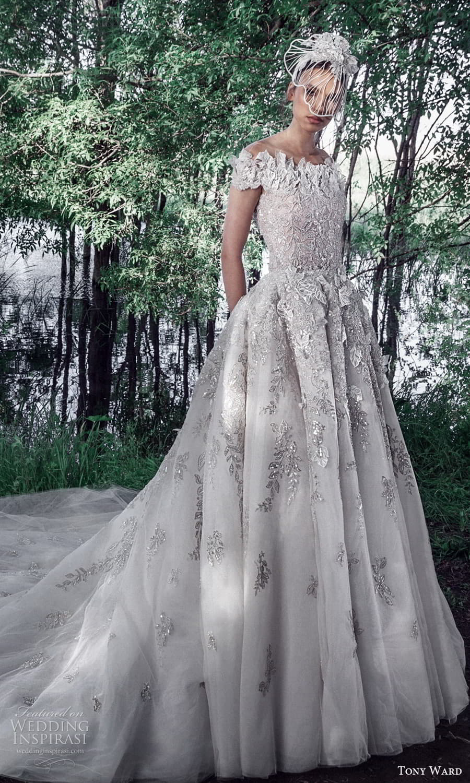 tony ward spring 2022 bridal short sleeves bateau neckline fully embellished sheath wedding dress a line ball gown overskirt cathedral train (12) mv