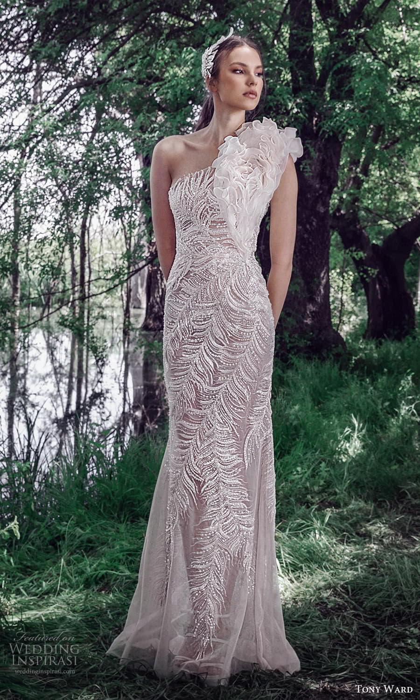 tony ward spring 2022 bridal sleeveless one shoulder ruffle strap fully embellished sheath wedding dress (6) mv