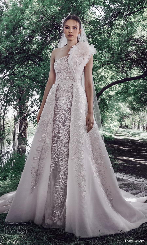 tony ward spring 2022 bridal sleeveless one shoulder ruffle strap fully embellished sheath wedding dress a line ball gown overskirt (6) mv