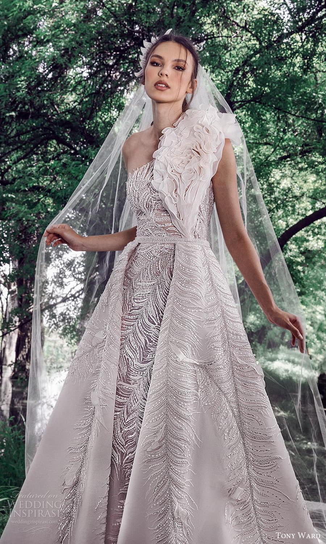 tony ward spring 2022 bridal sleeveless one shoulder ruffle strap fully embellished sheath wedding dress a line ball gown overskirt (6) zv