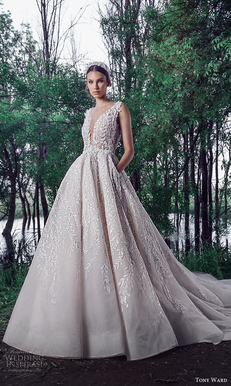 tony ward spring 2022 bridal sleeveless straps plunging v neckline fully embellished a line ball gown wedding dress chapel train (5) mv