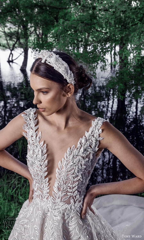 tony ward spring 2022 bridal sleeveless straps plunging v neckline fully embellished a line ball gown wedding dress chapel train (5) zv