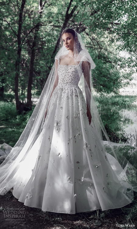 tony ward spring 2022 bridal sleeveless straps square neckline heavily embellished bodice a line ball gown wedding dress chapel train (7) mv