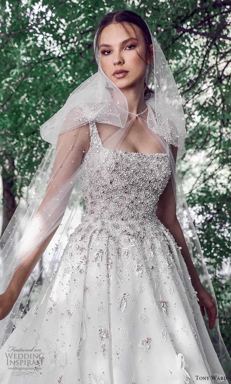 tony ward spring 2022 bridal sleeveless straps square neckline heavily embellished bodice a line ball gown wedding dress chapel train (7) zv