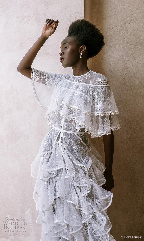 yaniv persy spring 2022 bridal flutter sleeves jewel neckline column wedding dress ruffle skirt (6) mv