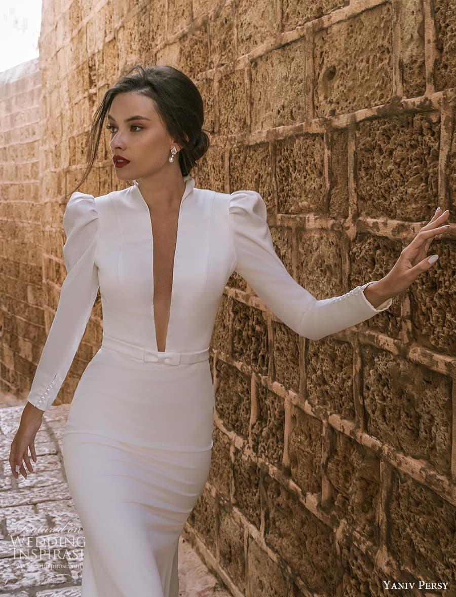 yaniv persy spring 2022 bridal long puff sleeves plunging v neckline clean minimalist sheath wedding dress (9) mv