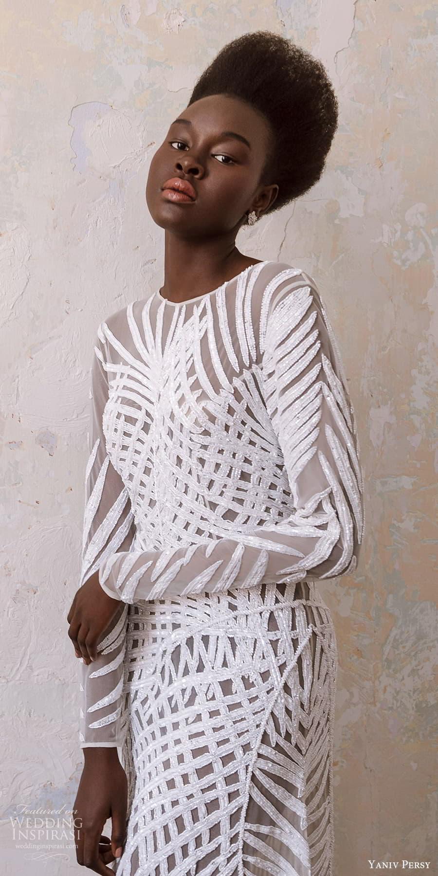 yaniv persy spring 2022 bridal long sleeve jewel neckline fully embellished sheath wedding dress (1) lv