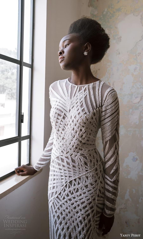 yaniv persy spring 2022 bridal long sleeve jewel neckline fully embellished sheath wedding dress (1) mv