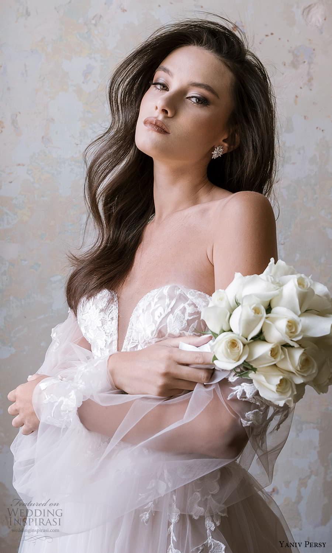 yaniv persy spring 2022 bridal off shoulder sheer bishop sleeves sweetheart neckline embellished bodice a line ball gown wedding dress (5) mv