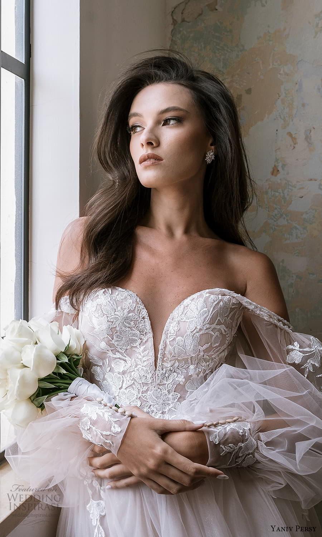 yaniv persy spring 2022 bridal off shoulder sheer bishop sleeves sweetheart neckline embellished bodice a line ball gown wedding dress (5) zv