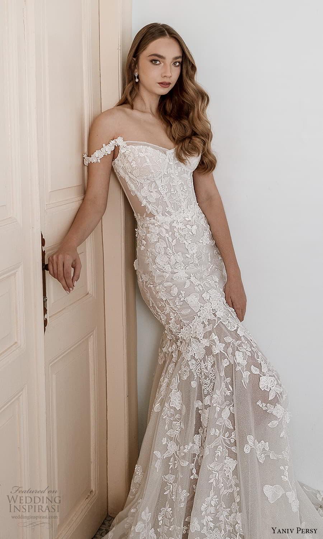 yaniv persy spring 2022 bridal off shoulder straps sweetheart neckline fully embellished fit flare mermaid wedding dress chapel train (7) mv