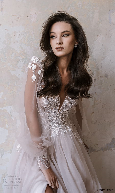 yaniv persy spring 2022 bridal sheer puff sleeves v neckline embellished bodice a line ball gown wedding dress (2) mv